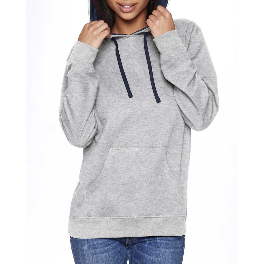 Next Level Unisex Heather Grey/Midnight Navy French Terry Pullover Hoodie