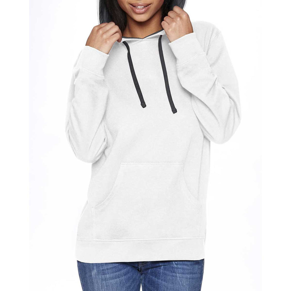 Next Level Unisex White/Heather grey French Terry Pullover Hoodie