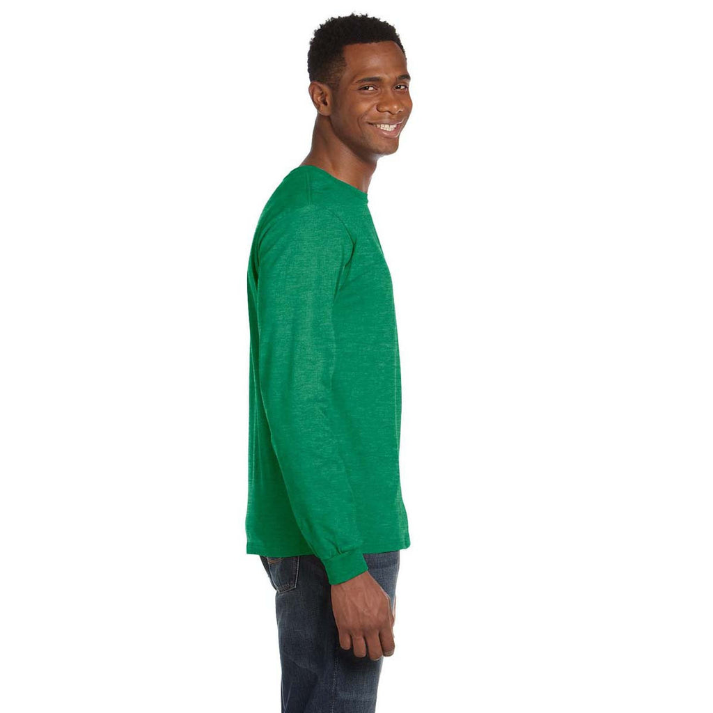 Anvil Men's Heather Green Lightweight Long-Sleeve T-Shirt