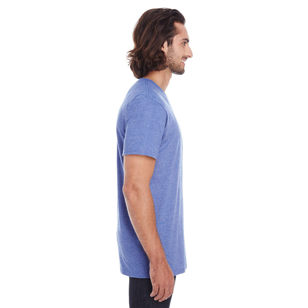 Anvil Men's Heather Blue Lightweight Pocket Tee