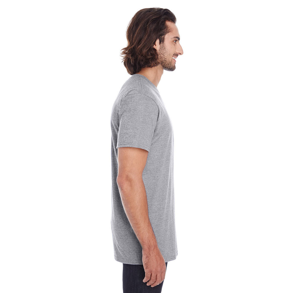 Anvil Men's Heather Graphite Lightweight Pocket Tee