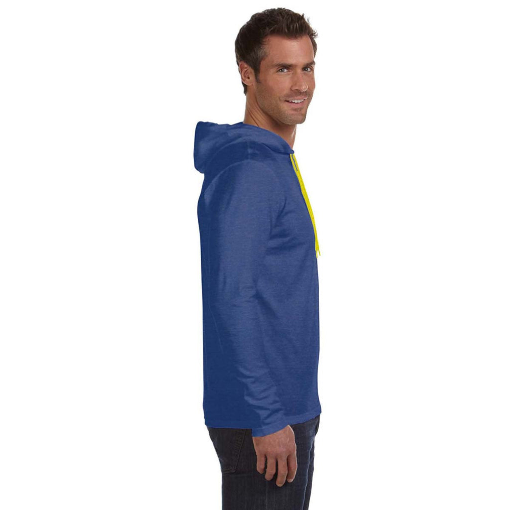 Anvil Men's Heather Blue Lightweight Long-Sleeve Hooded T-Shirt