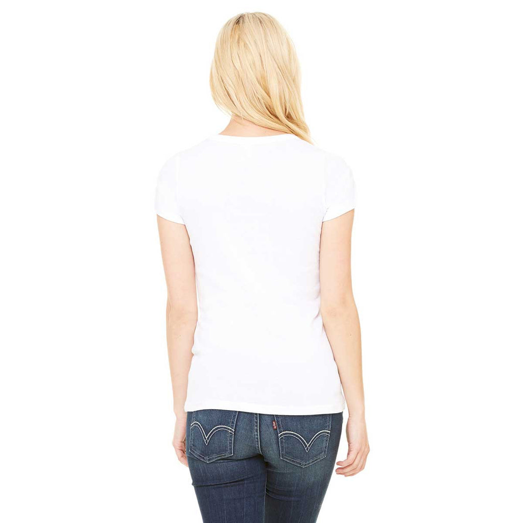 Bella + Canvas Women's White Stretch Rib Short-Sleeve Scoop Neck T-Shirt