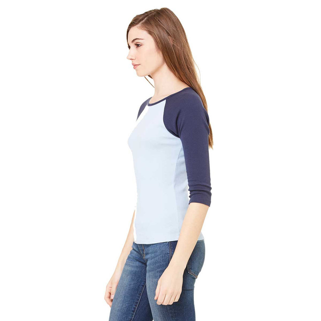 Bella + Canvas Women's Baby Blue/Navy Stretch Rib 3/4-Sleeve Contrast Raglan T-Shirt