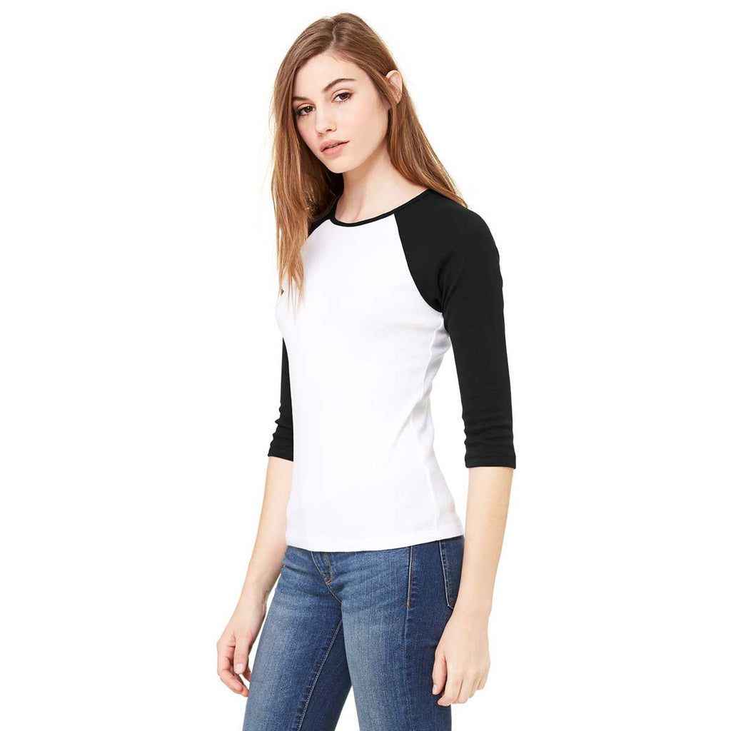 Bella + Canvas Women's White/Black Stretch Rib 3/4-Sleeve Contrast Raglan T-Shirt