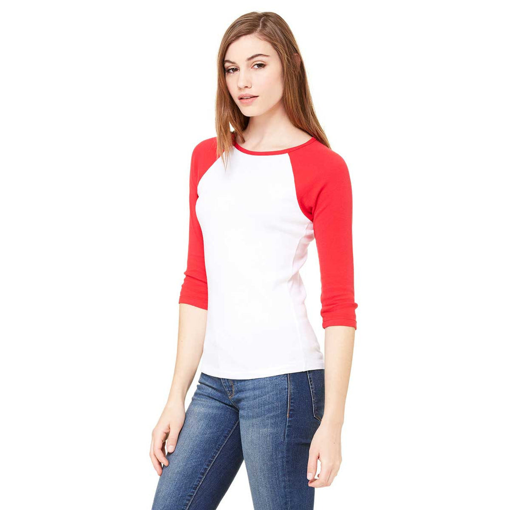 Bella + Canvas Women's White/Red Stretch Rib 3/4-Sleeve Contrast Raglan T-Shirt