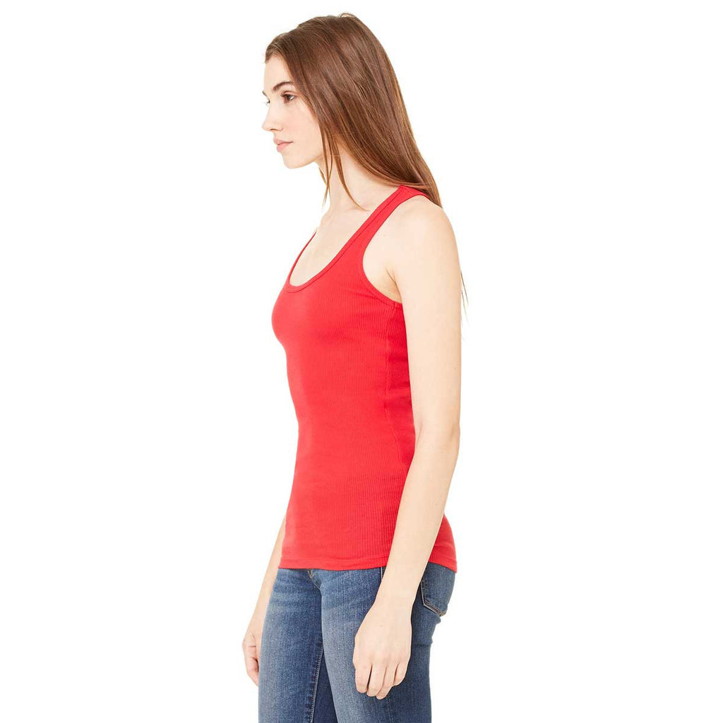 Bella + Canvas Women's Red 2x1 Rib Racerback Longer Length Tank
