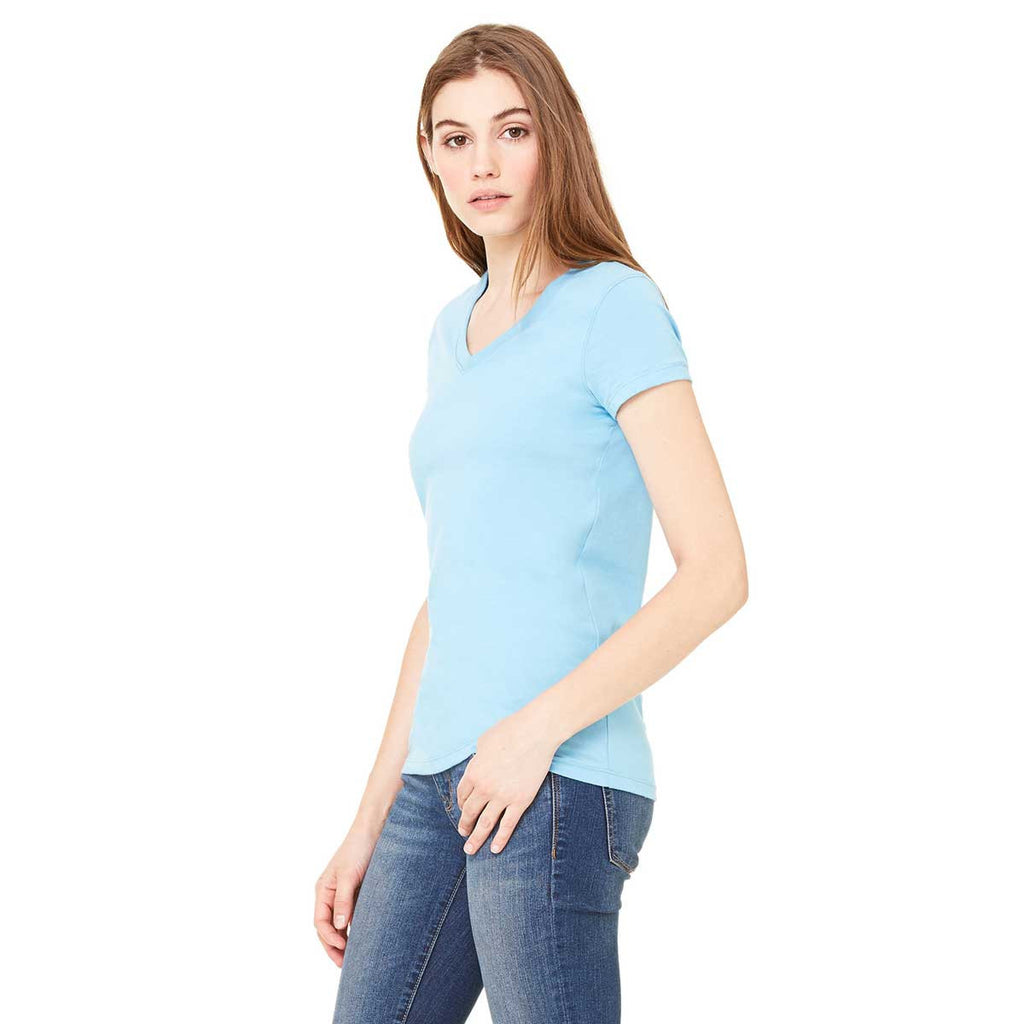 Bella + Canvas Women's Baby Blue Jersey Short-Sleeve V-Neck T-Shirt