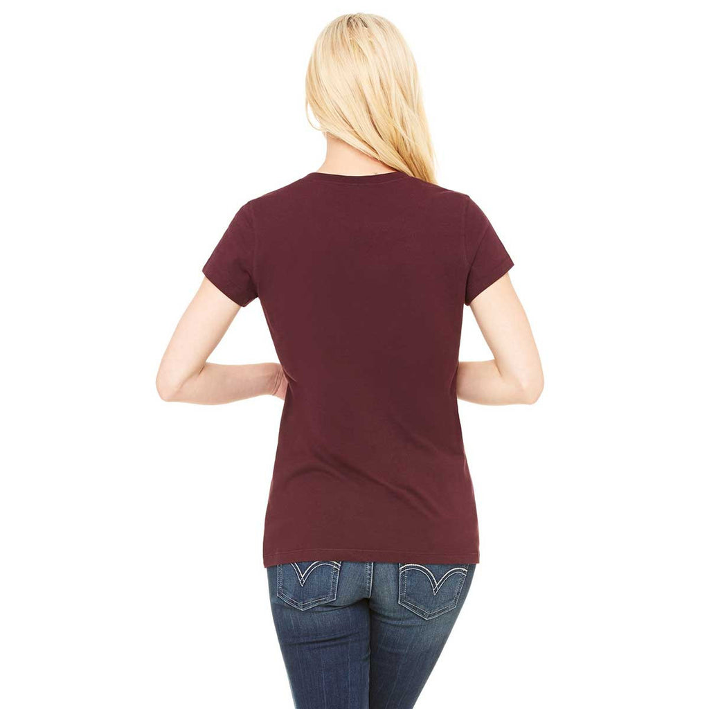 Bella + Canvas Women's Maroon Jersey Short-Sleeve V-Neck T-Shirt