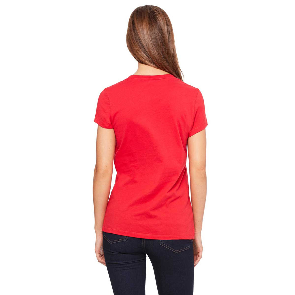Bella + Canvas Women's Red Jersey Short-Sleeve V-Neck T-Shirt
