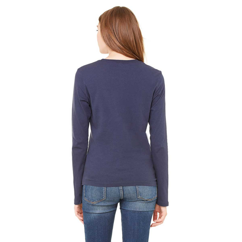 Bella + Canvas Women's Navy Jersey Long-Sleeve T-Shirt