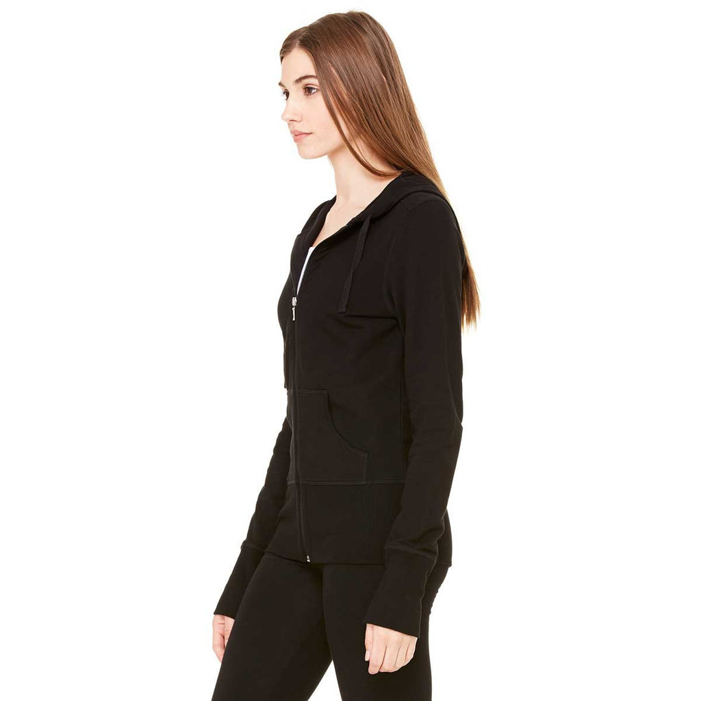 Bella + Canvas Women's Black Stretch French Terry Lounge Jacket