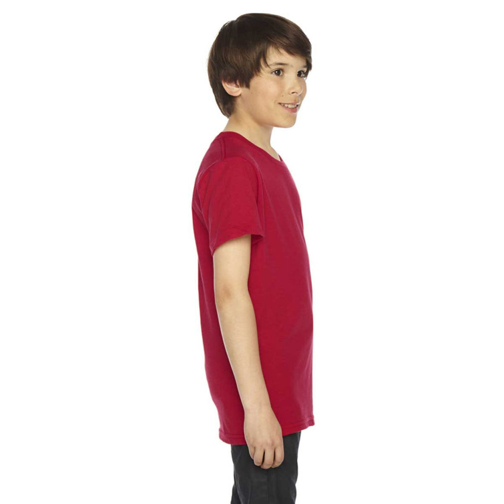 American Apparel Youth Red 50/50 Poly-Cotton Short Sleeve Tee