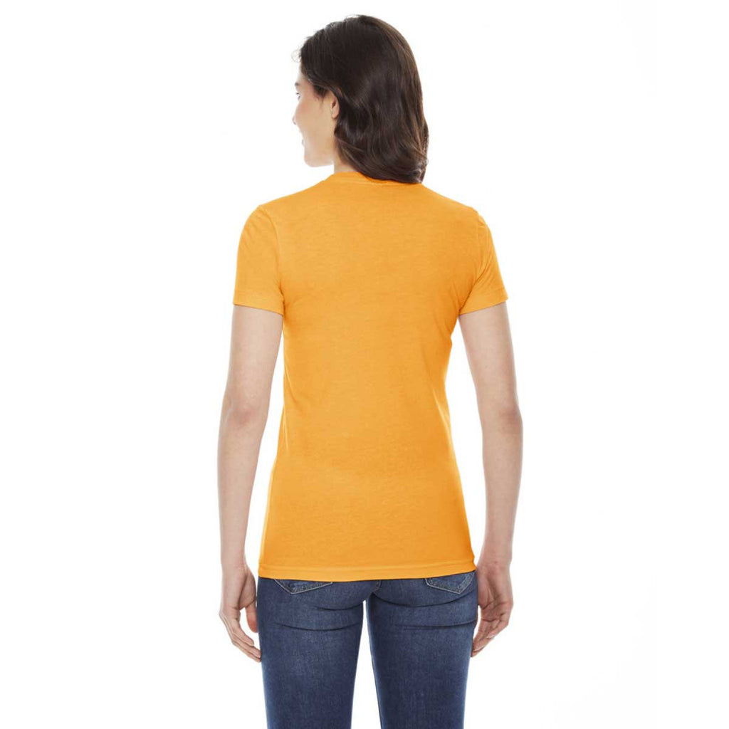American Apparel Women's Gold Poly-Cotton Short-Sleeve Crewneck