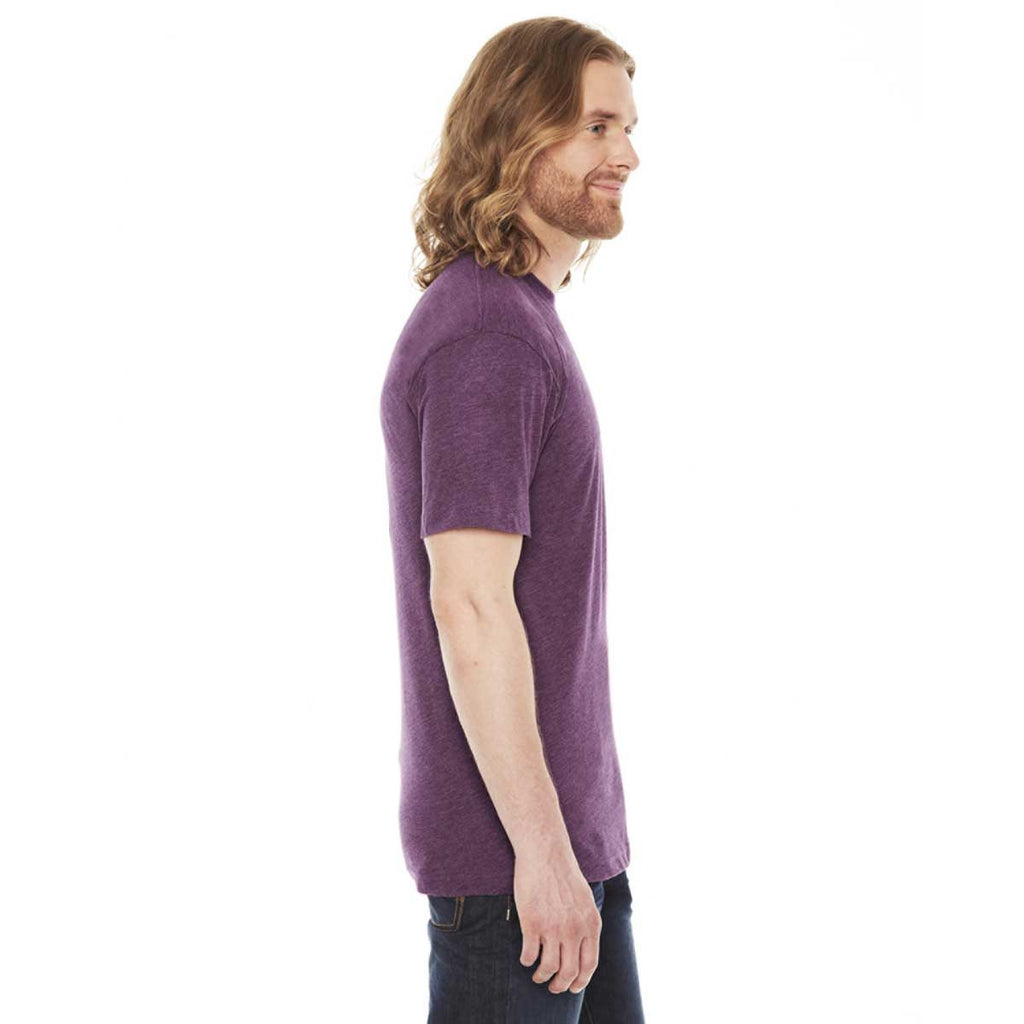 American Apparel Unisex Heather Plum 50/50 Short Sleeve Tee