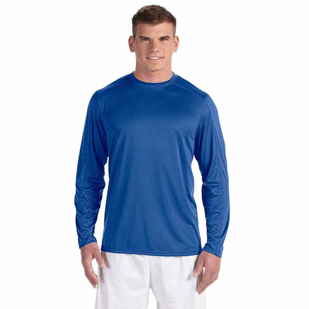 Champion Men's Athletic Royal Heather Vapor 4-Ounce Long-Sleeve T-Shirt