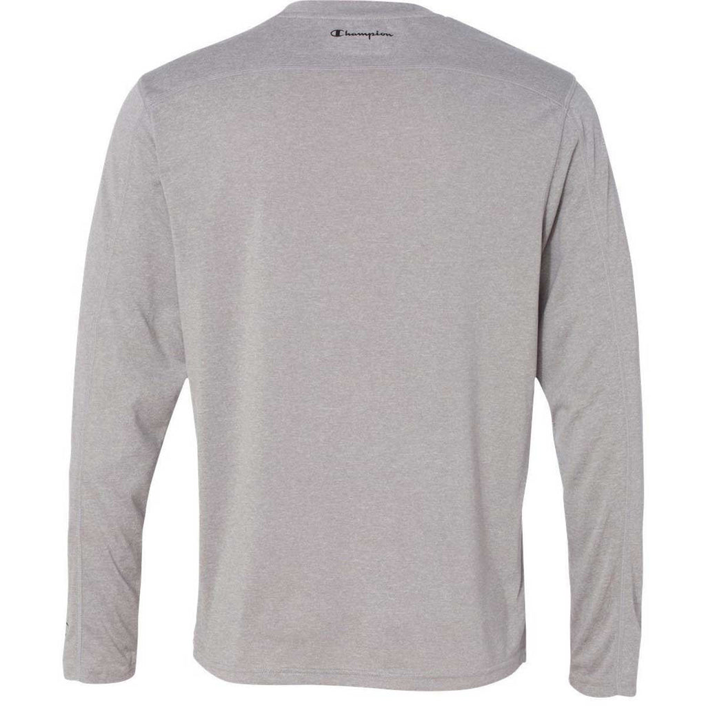 Champion Men's Slate Grey Heather Vapor 4-Ounce Long-Sleeve T-Shirt