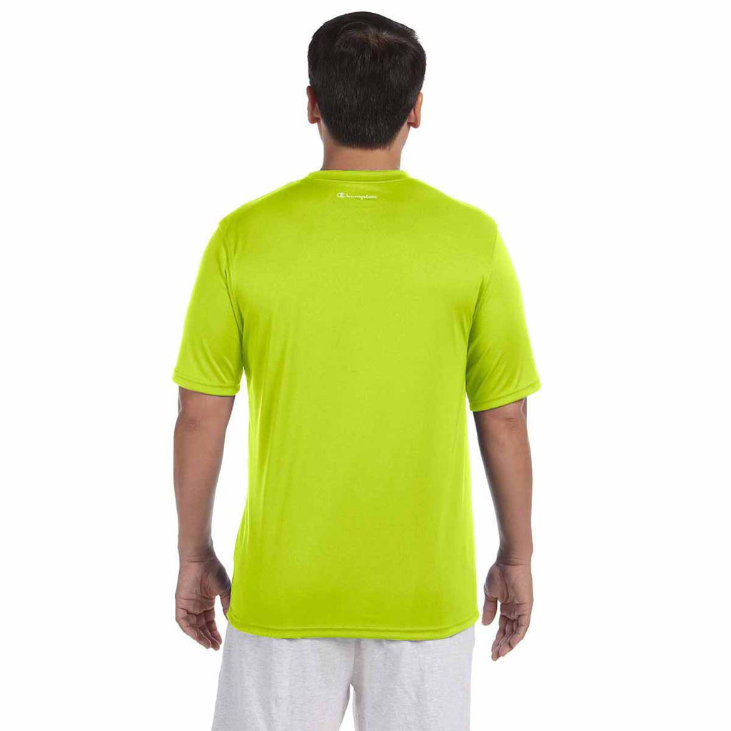 Champion Men's Safety Green Double Dry 4.1-Ounce Interlock T-Shirt