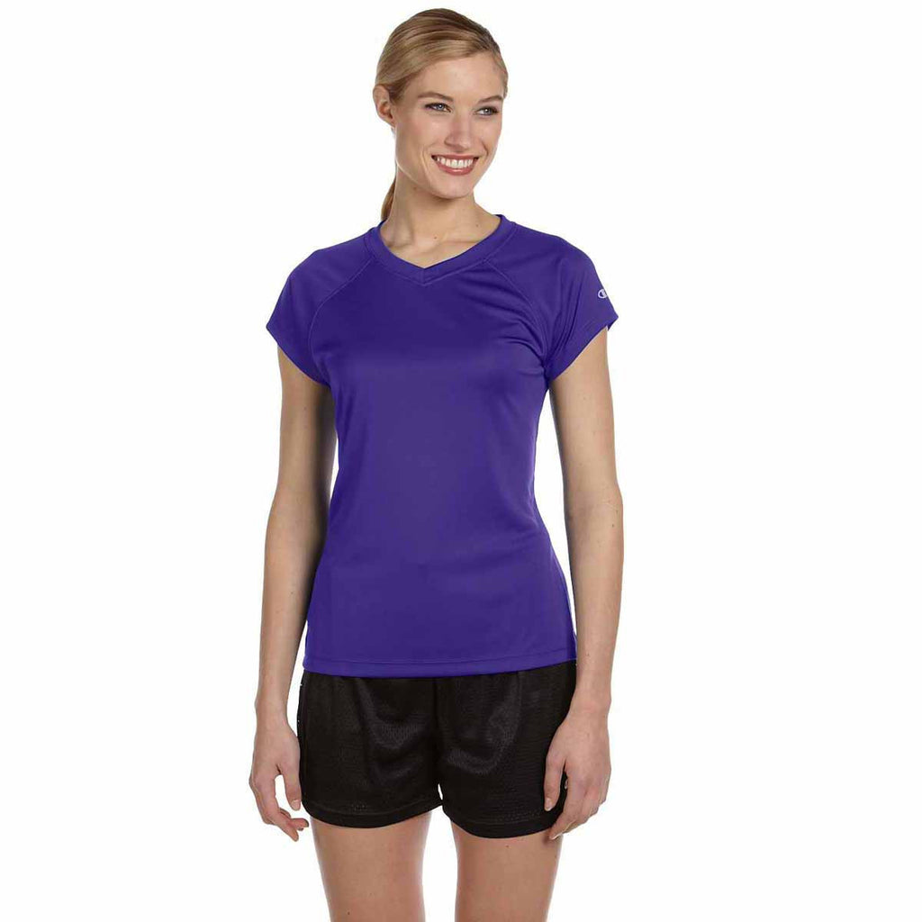Champion Women's Purple Double Dry 4.1-Ounce V-Neck T-Shirt