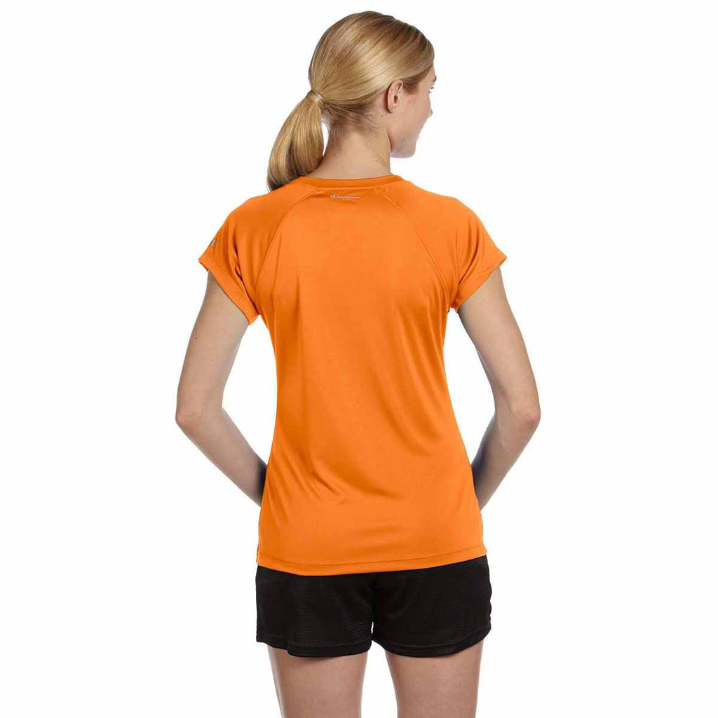Champion Women's Safety Orange Double Dry 4.1-Ounce V-Neck T-Shirt