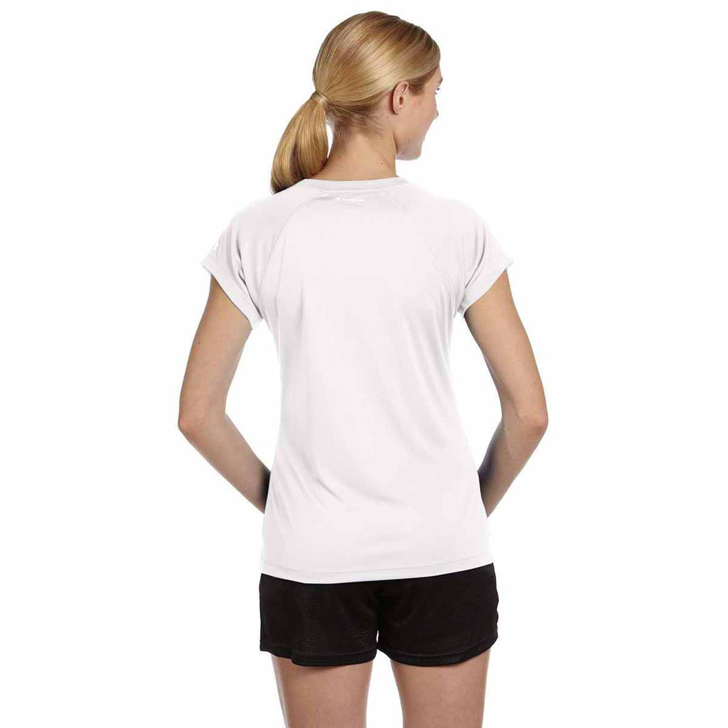 Champion Women's White Double Dry 4.1-Ounce V-Neck T-Shirt
