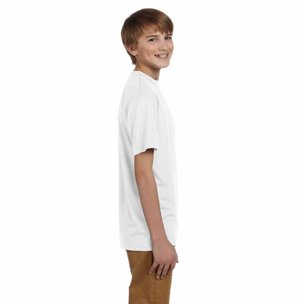 Champion Youth White Double Dry 4.1-Ounce Interlock T-Shirt