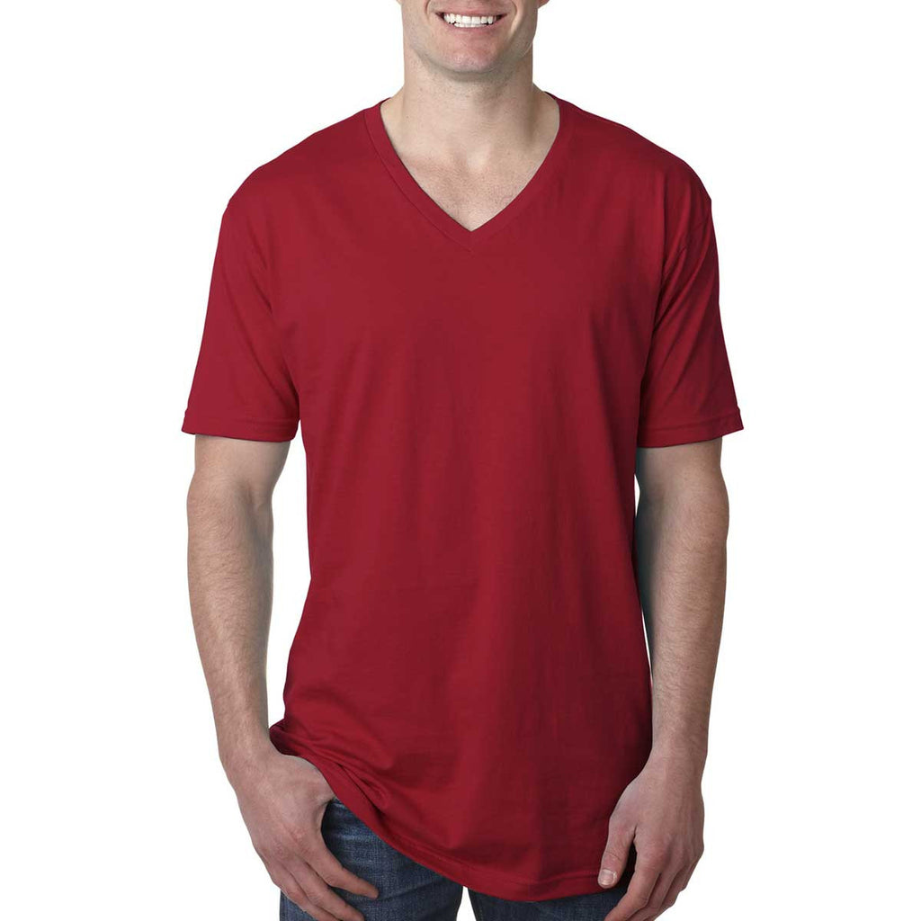 N3200 Next Level Men's Cardinal Premium Fitted Short-Sleeve V-Neck Tee
