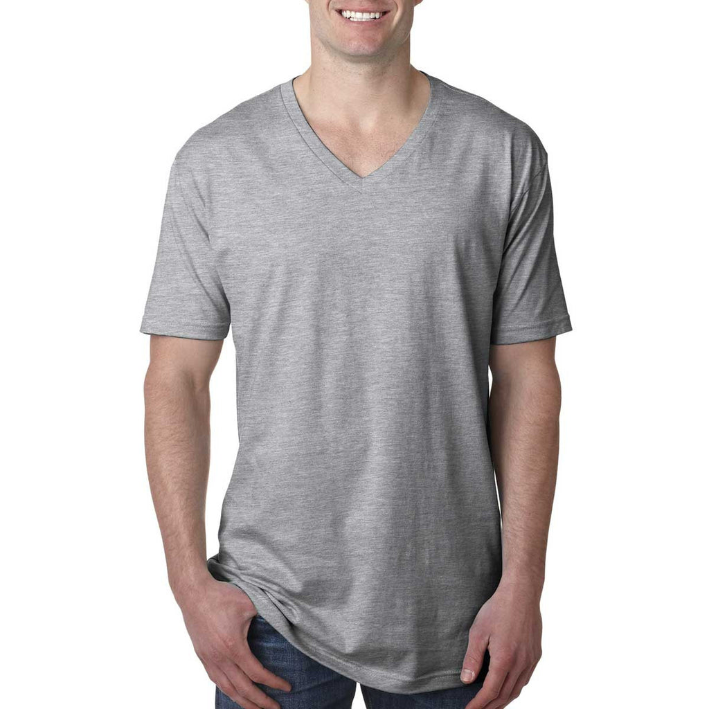 N3200 Next Level Men's Heather Grey Premium Fitted Short-Sleeve V-Neck Tee