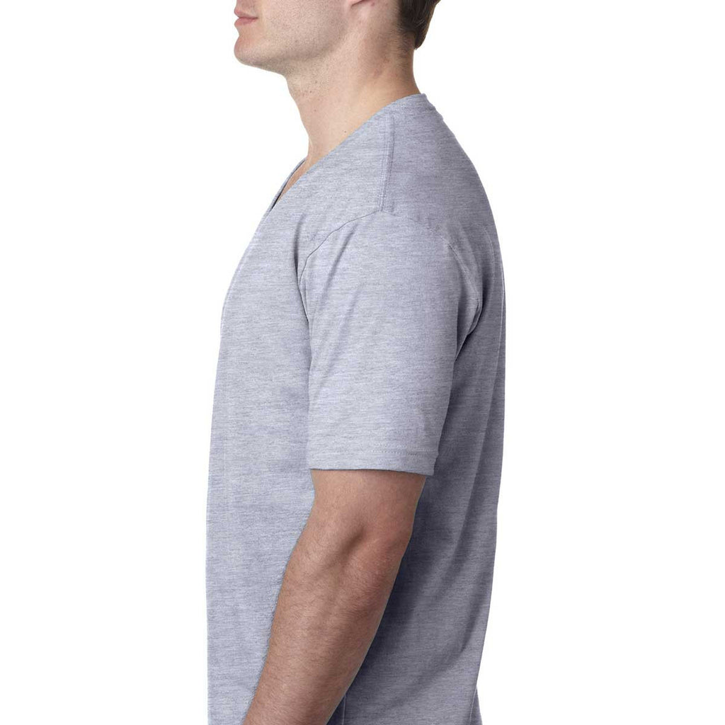 Next Level Men's Heather Gray Premium Fitted Short-Sleeve V-Neck Tee