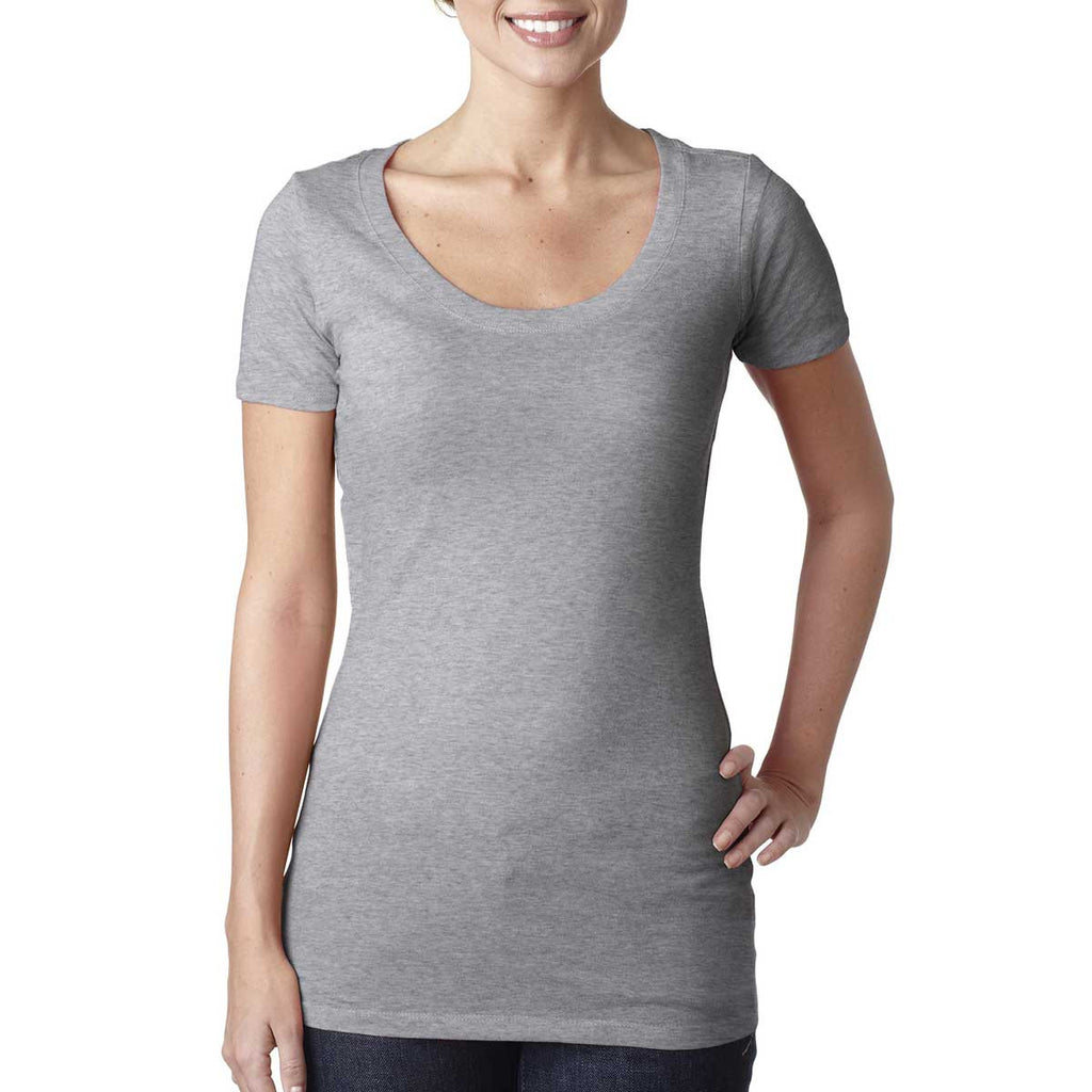 N3530 Next Level Women's Heather Grey Scoop Neck Tee