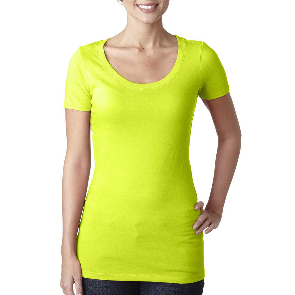 N3530 Next Level Women's Neon Yellow Scoop Neck Tee