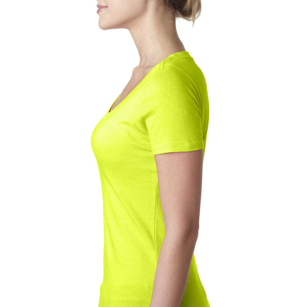 Next Level Women's Neon Yellow Scoop Neck Tee