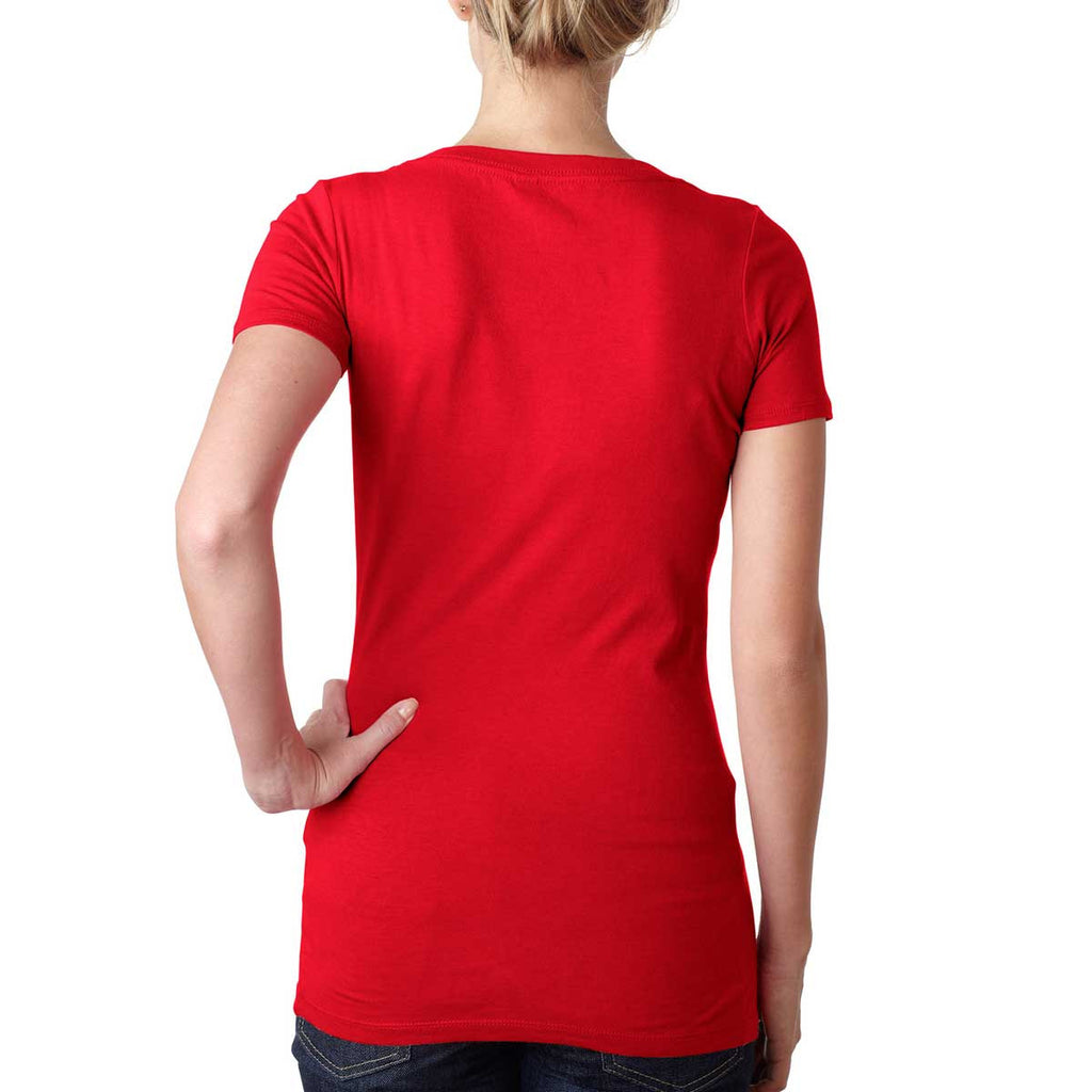 Next Level Women's Red Scoop Neck Tee