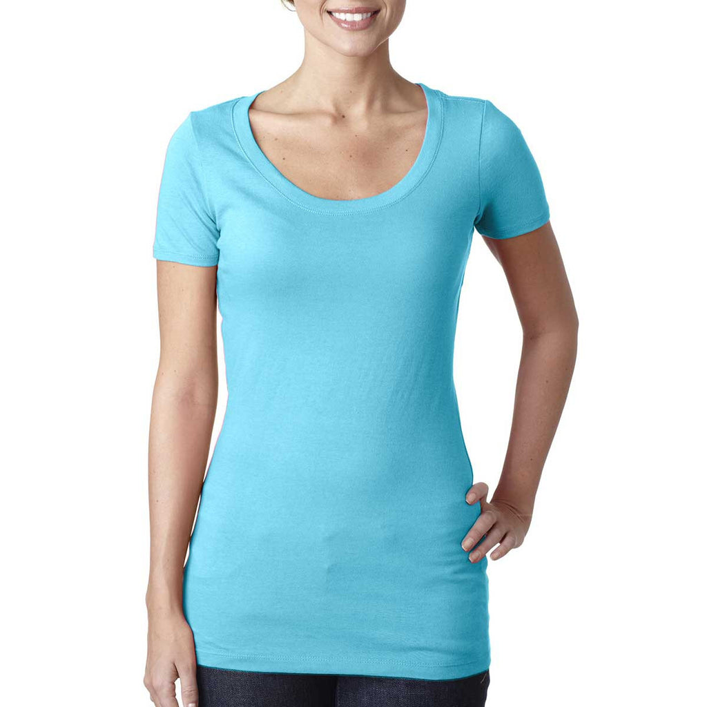 N3530 Next Level Women's Tahiti Blue Scoop Neck Tee