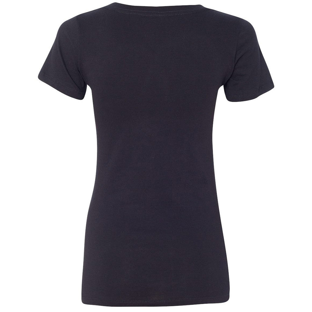 Next Level Women's Black Deep V-Neck Tee