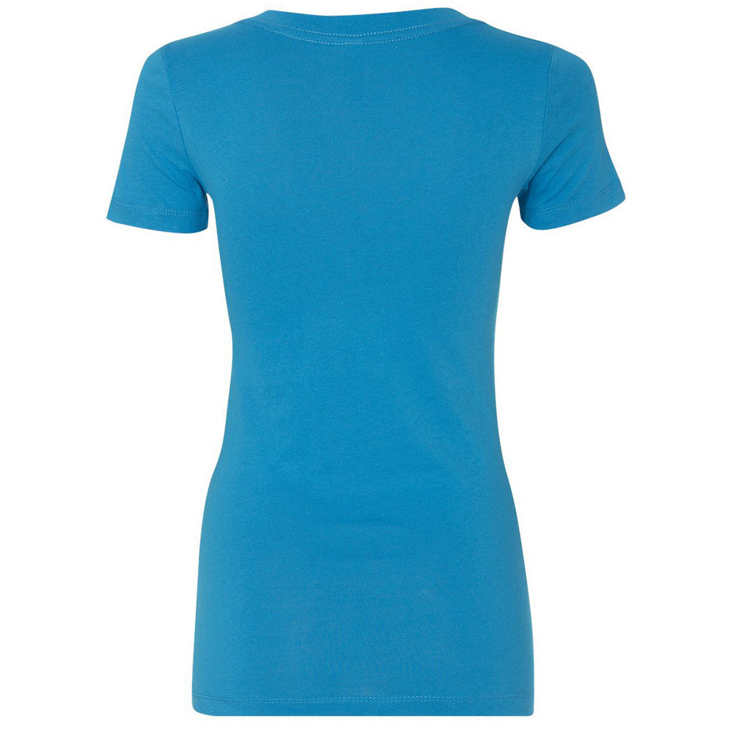 Next Level Women's Turquoise Deep V-Neck Tee