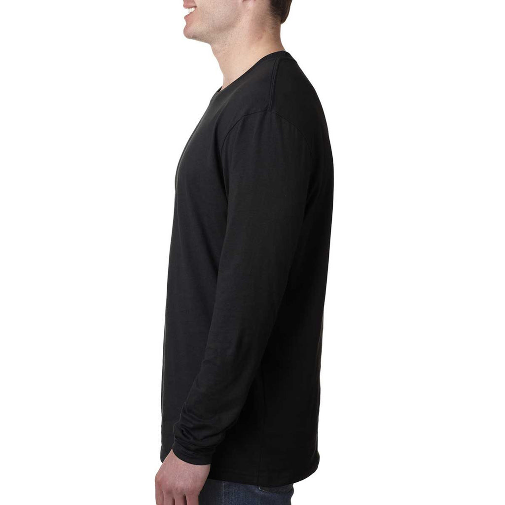 Next Level Men's Black Premium Fitted Long-Sleeve Crew Tee