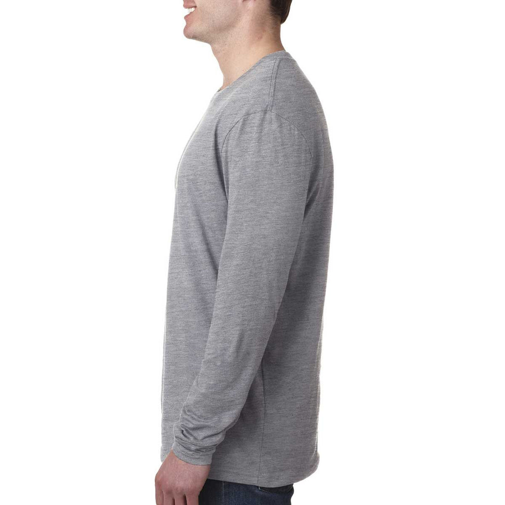 Next Level Men's Heather Gray Premium Fitted Long-Sleeve Crew Tee