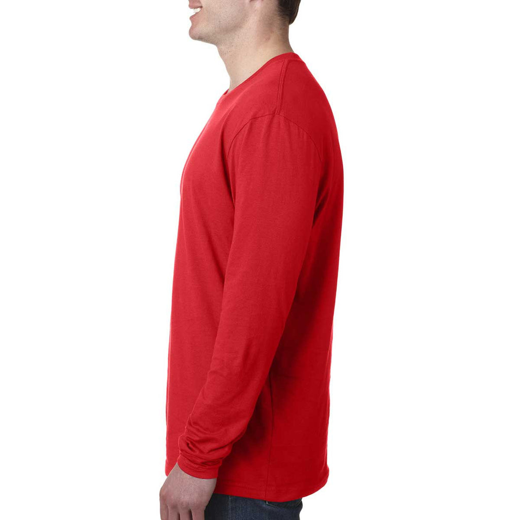 Next Level Men's Red Premium Fitted Long-Sleeve Crew Tee