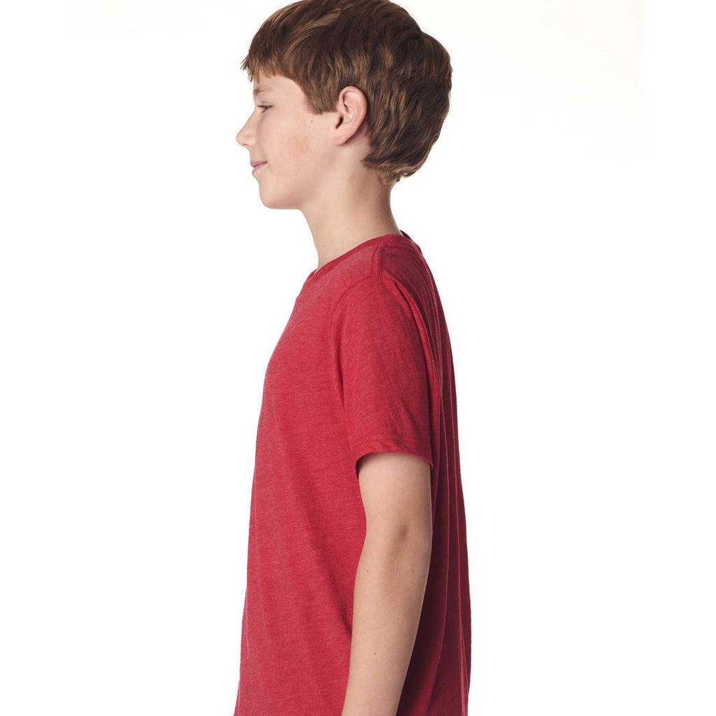 Next Level Boy's Vintage Red Triblend Crew Tee
