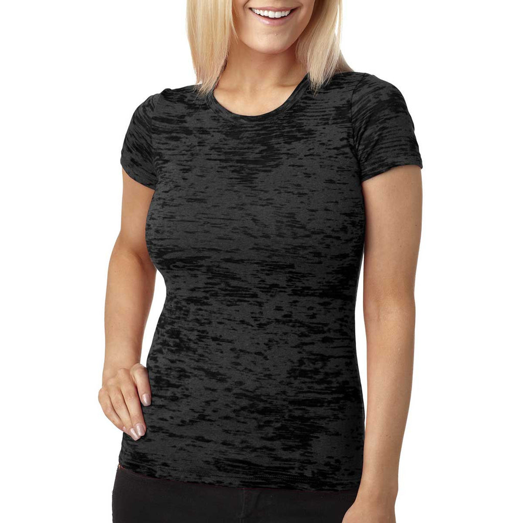 Next Level Women's Black Burnout Tee