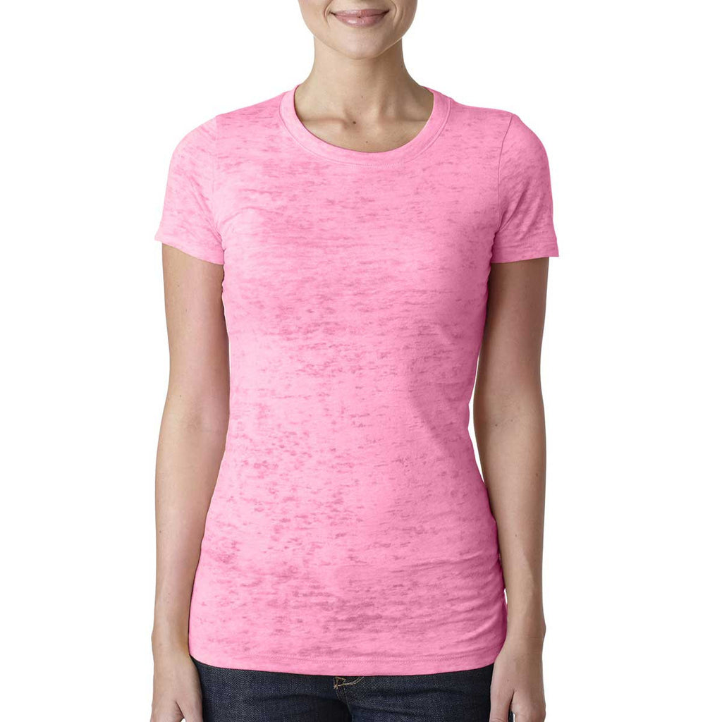 Next Level Women's Neon Pink Burnout Tee
