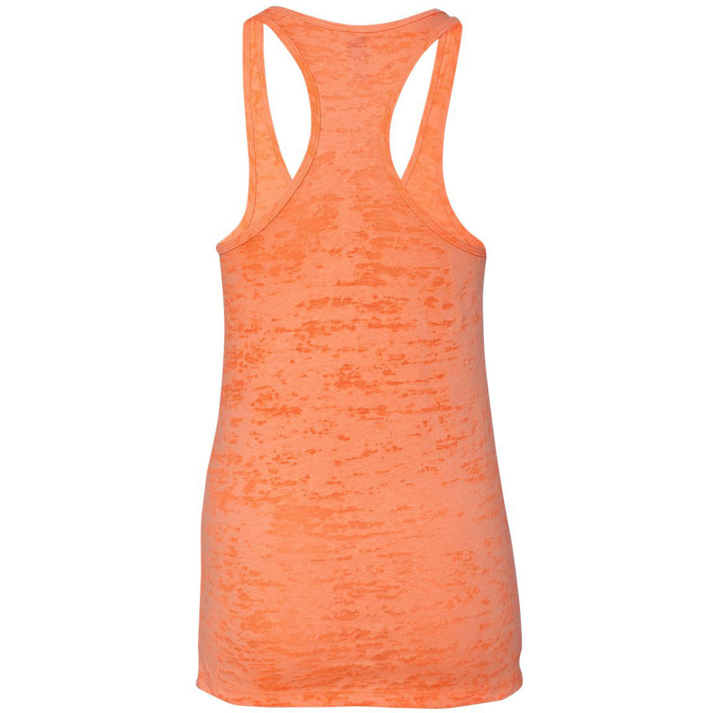 Next Level Women's Neon Orange Burnout Racerback Tank