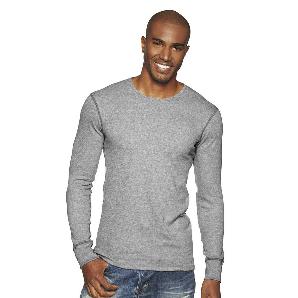 Next level Men's Heather Grey Blended Thermal Tee