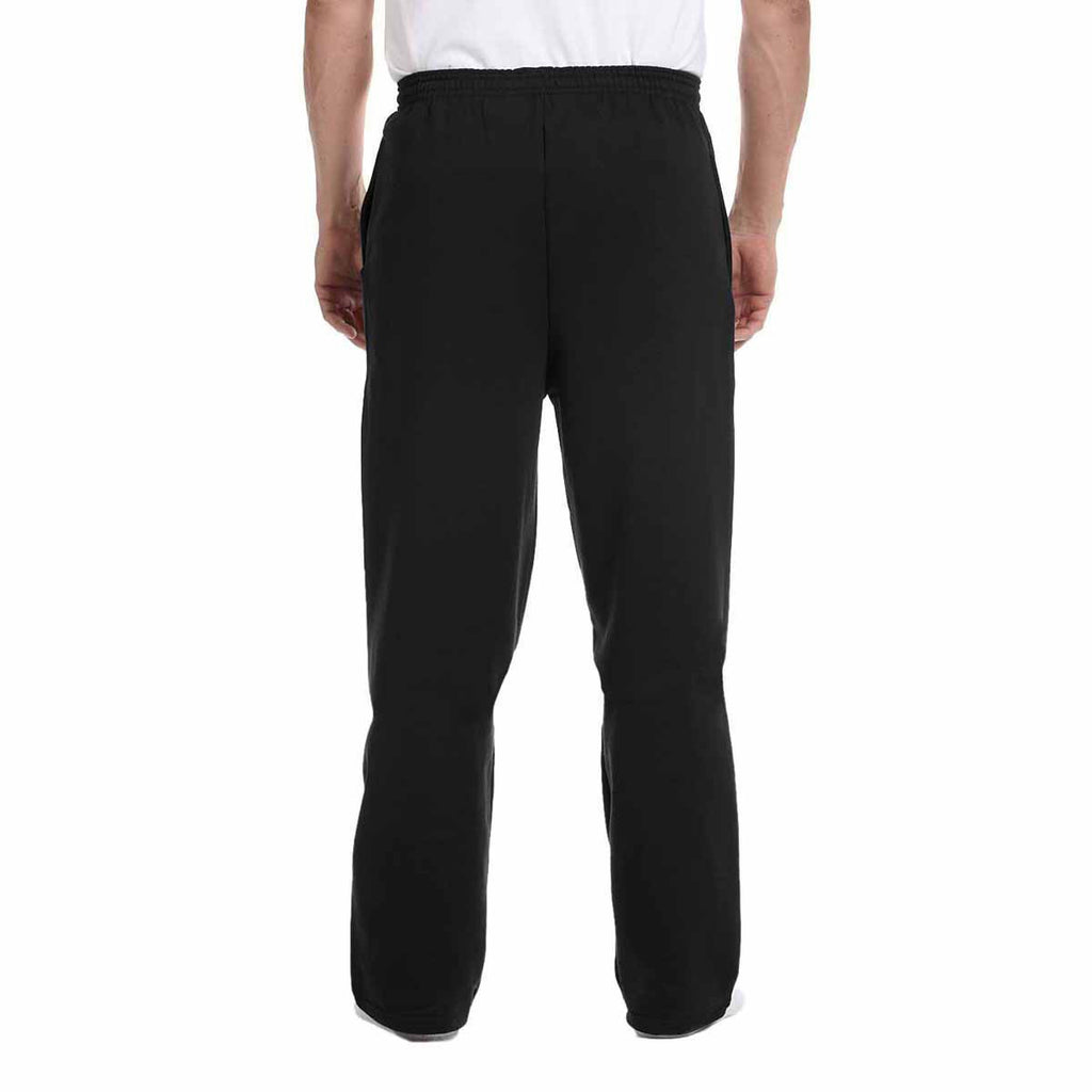 Champion Men's Black Eco 9-Ounce Open-Bottom Fleece Pant with Pocket