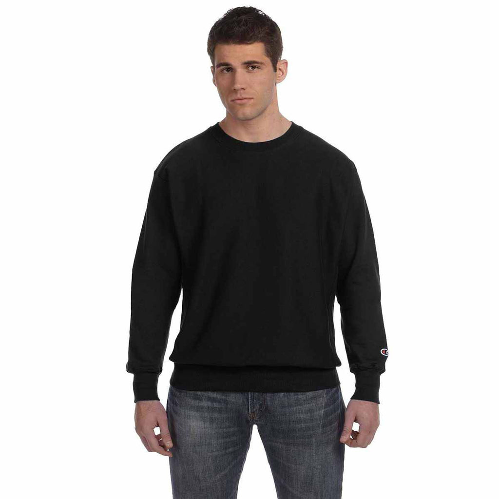 Champion Men's Black Reverse Weave 12-Ounce Crew