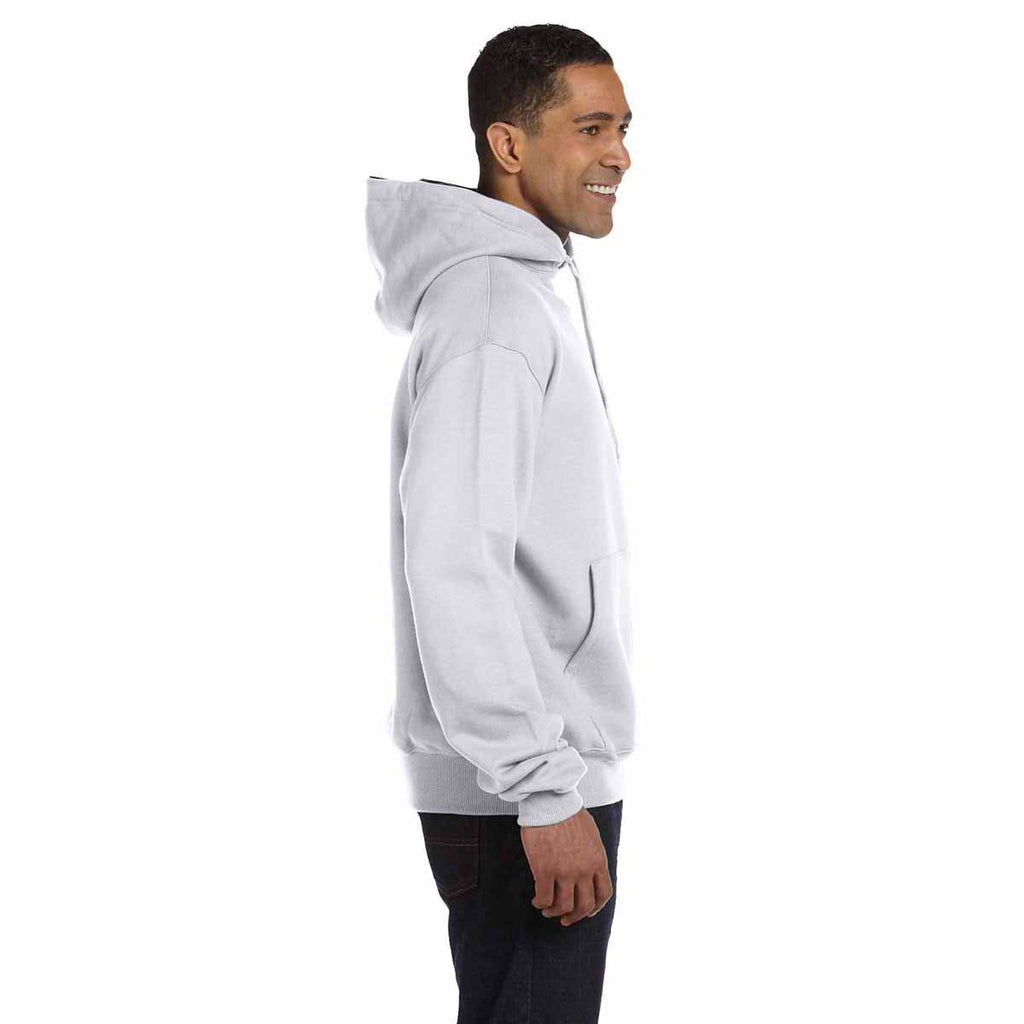 Champion Men's White Heather/Sport Dark Navy for Team 365 Cotton Max 9.7-Ounce Pullover Hood