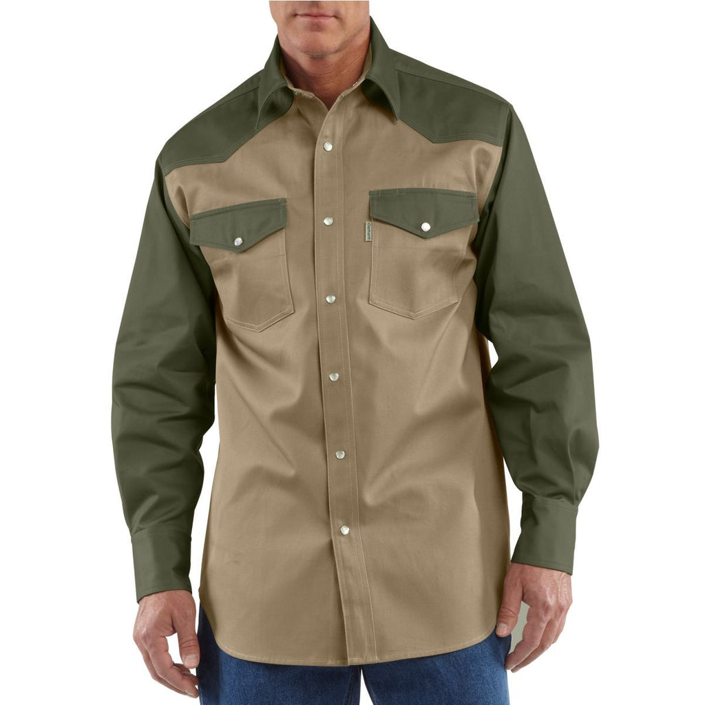 Carhartt Men's Khaki/Moss Ironwood Twill Work Shirt