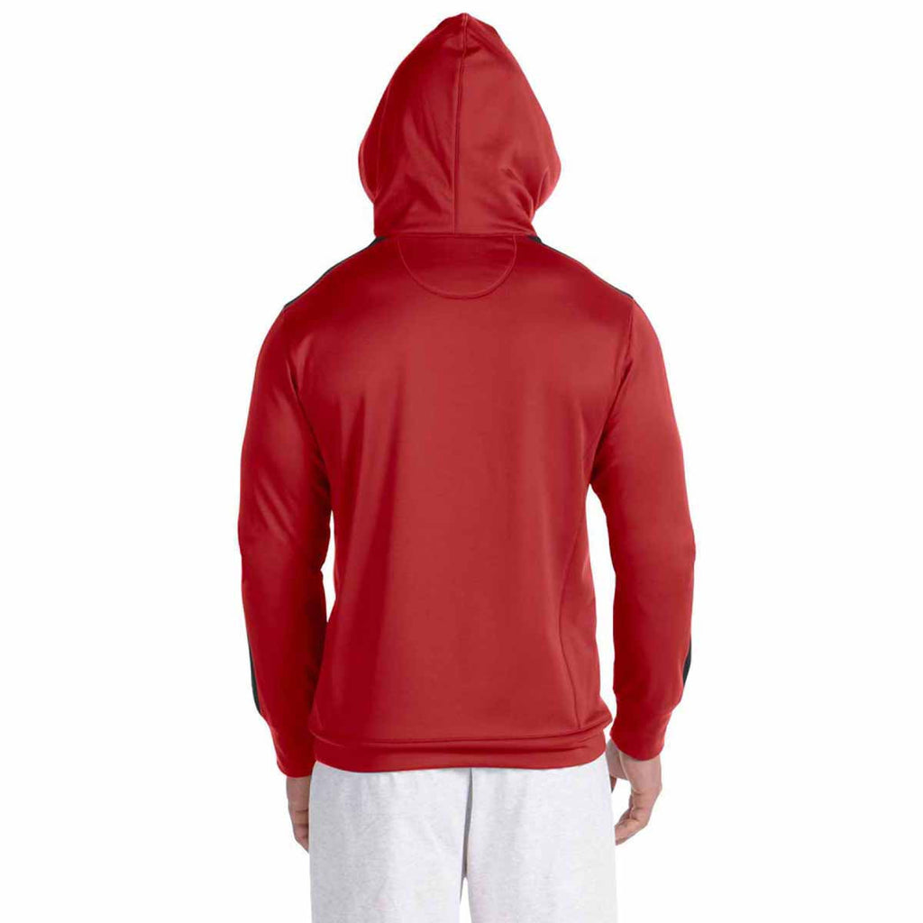 Champion Men's Scarlet/Black Performance 5.4-Ounce Colorblock Pullover Hood