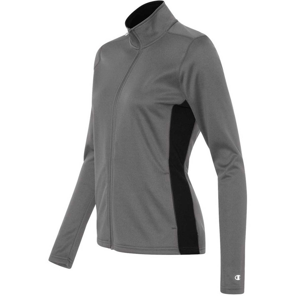 Champion Women's Stone Grey/Black Performance 5.4-Ounce Colorblock Full-Zip Jacket